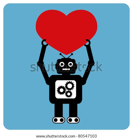 Modern robot with happy heart - stock vector