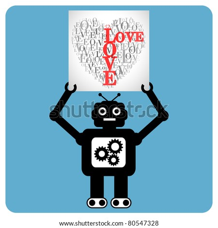 "Modern robot with  heart made of words ""LOVE"" - stock vector"