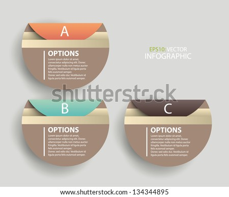 Modern round infographics process and options sticker, labels. Vector - stock vector