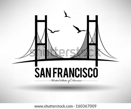 Modern San Francisco Bridge Design - stock vector