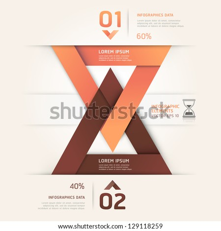 Modern sand clock origami style. Vector illustration. can be used for workflow layout, diagram, number options, step up options, web design, infographics. - stock vector