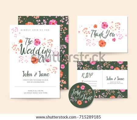 Modern save date floral wedding invitation stock vector 715289200 modern save the date floral wedding invitation card template illustration set rsvp pin and stopboris Image collections