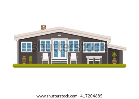 Modern scandinavian house. Family summer cottage. Large apartment building vector illustration. Living or rental rural home isolated on white background. Europe architecture room exterior.  - stock vector