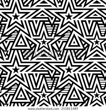 Modern Seamless Mix Stars Background. Black and White Striped Vector Pattern - stock vector