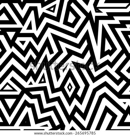 Modern Seamless Mixed Lines Background for Textile Design. Black and White Striped Vector Pattern - stock vector