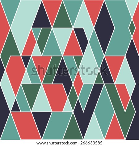 Modern seamless pattern with parallelograms and triangles.