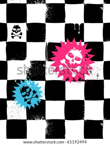 Modern seamless texture with skulls. Cool emo style. Vector EPS 10 illustration. - stock vector