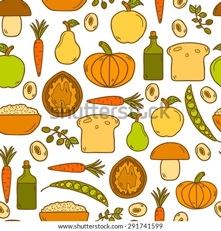 Modern seamless vector background with objects in cute cartoon hand drawn style on vegan food theme: fruit, vegetable, mushroom, soy, bean, oil, nut, bread, rice. Raw healthy food or vegan concept - stock vector