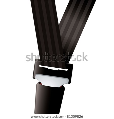 Modern seat belt for car clipped in and secure - stock vector