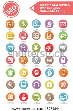 Modern SEO Service,Web designer and Online marketing icon set,Colorful version,vector - stock vector