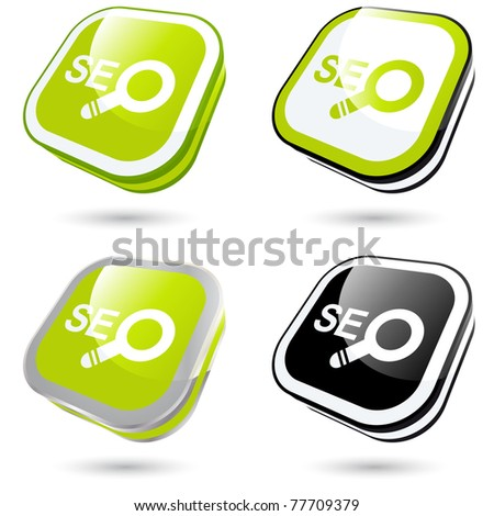 modern seo sign collection in 3D - stock vector