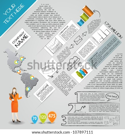 Modern set elements of infographics. Map of America and Information Graphics - stock vector