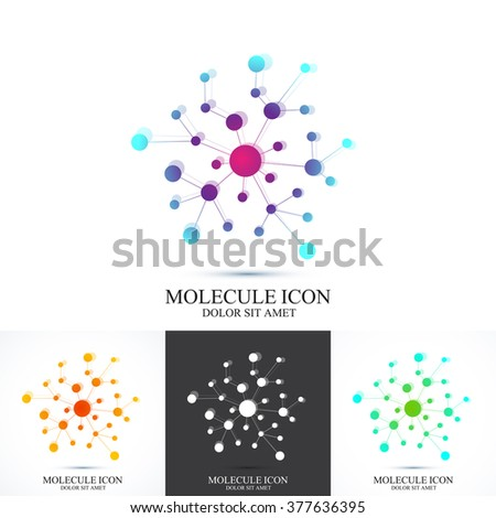 Modern set logotype icon dna and molecule. Vector template for medicine, science, technology , chemistry, biotechnology.