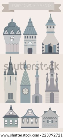 Modern set of beautiful fairytale castles made in different styles. Collection of houses for logo or other types of design. - stock vector