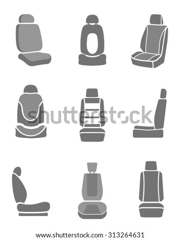 Modern set of car seat icons in grey colors. Editable automotive collection. Vector illustration. - stock vector