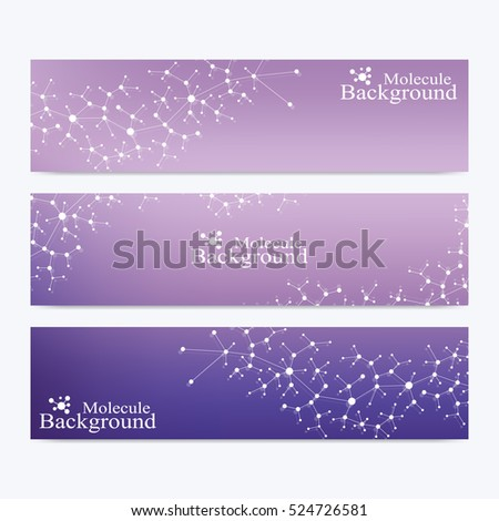 Modern set of vector banners. Atom. Genetic and chemical compounds. Molecule and communication background for medicine, science, technology, chemistry. Medical scientific backdrop. Vector illustration
