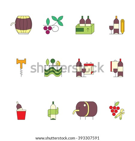 Modern set of vector line icons with different wine and winery elements. Glass, grape, bottle, barrel, corckscrew. Vector line icons. Perfect background for wine-related design. - stock vector