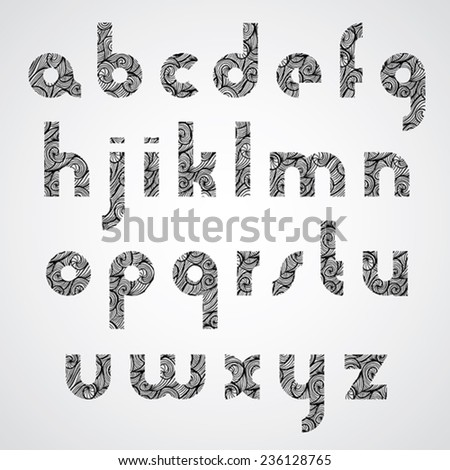 Modern shape letters, digital style contemporary font with hand drawn curly lines pattern, sketch funky curls doddle style drawing vector alphabet. Letters designed specially, lowercase vector set. - stock vector