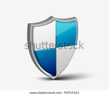 Modern shield offering protection with white background - stock vector