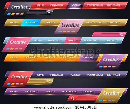 Modern Shiny Lighting Web Elements Vector Header & Navigation Templates Set - stock vector