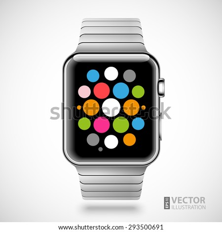Modern shiny smart watch with steel bracelet applications icons on screen isolated on white background. RGB EPS 10 vector illustration - stock vector