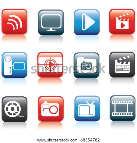 modern silhouette button icon set of photo, video and multimedia symbols - stock vector