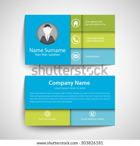Modern simple business card set, template or visiting card in blue and green. Vector illustration. - stock vector