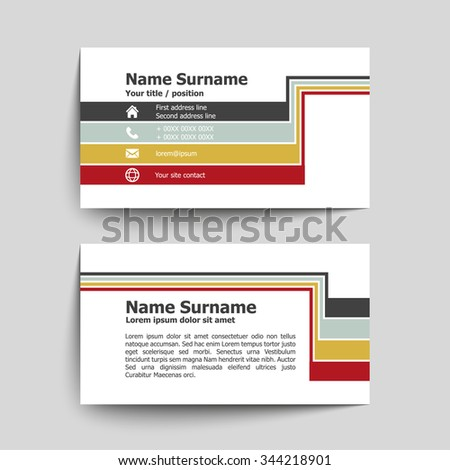 Modern simple business card set, template or visiting card. Vector illustration. - stock vector