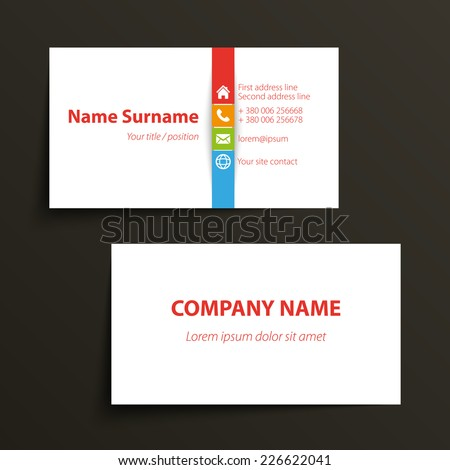 Modern simple business card template vector stock vector 226622041 modern simple business card template vector format colourmoves