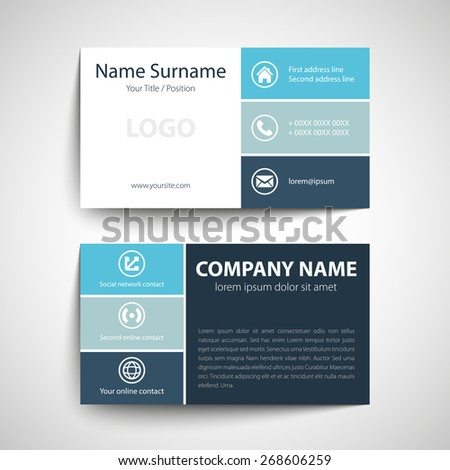 Blue Modern Creative Business Card Name Stock Vector - Networking business card template