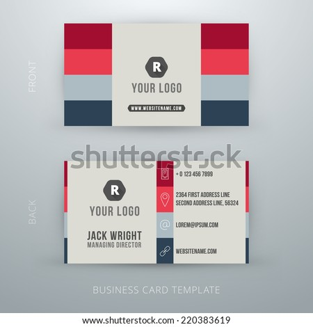 Modern simple business card template. Vector illustration - stock vector