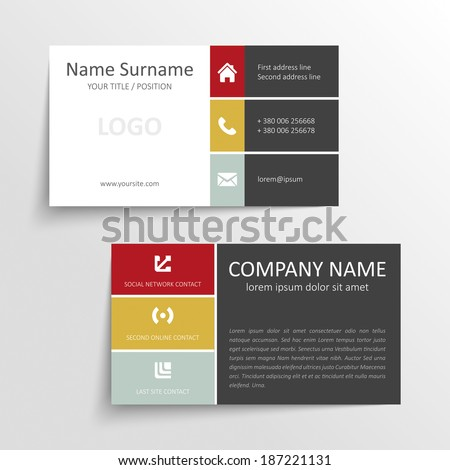 Modern simple business card template with flat user interface - stock vector