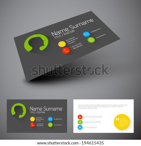 Modern simple business card template with flat user interface and long shadows - stock vector