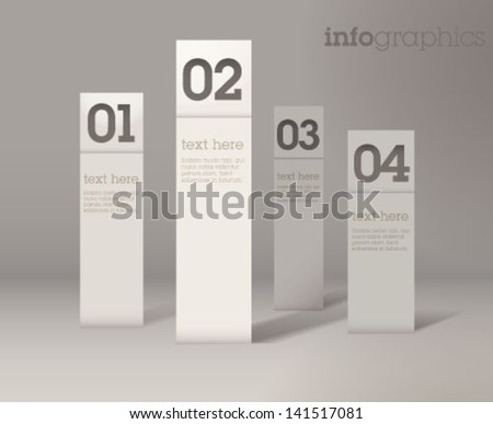 Modern simple 3D infographics. Paper charts / can be used for application or website navigation / web banners / Vector - stock vector