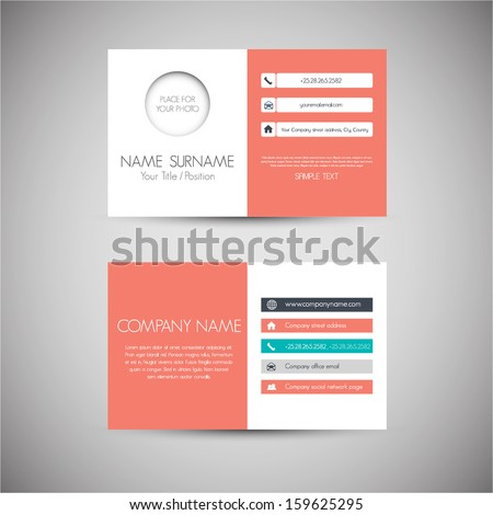 Modern simple light business card template with flat user interface - stock vector
