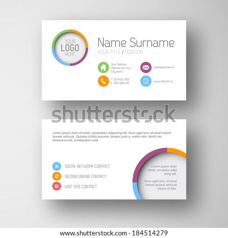 Modern simple white  business card template with some placeholder - stock vector