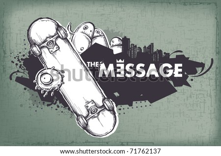 Modern sketchy style banner with skateboard. Layered. Vector EPS 10 illustration. - stock vector