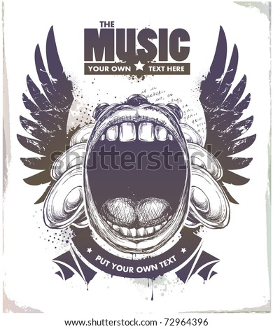 Modern sketchy style musical poster with screaming mouth, speakers and wings. Layered. Vector EPS 10 illustration. - stock vector