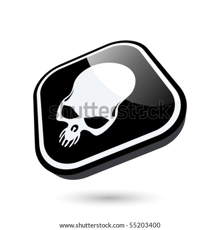 modern skull sign - stock vector