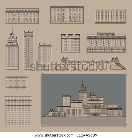 Modern skyscrapers collection. Design buildings Set for your creative ideas. Flat design style. Vector Line Art.