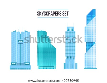 modern skyscrapers icons set. Flat design of the city elements. New office buildings with headquarters - stock vector