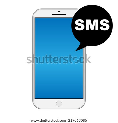 Modern smart iphone isolation with SMS icon - stock vector