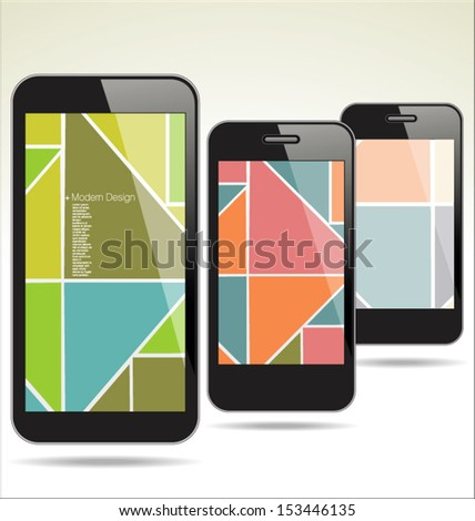 Modern smart phone abstract design - stock vector