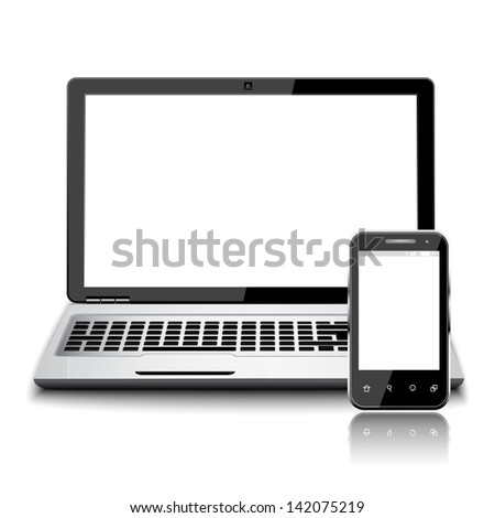 modern smart phone and laptop device with blank touch screen with black frame, isolated on white background. - stock vector