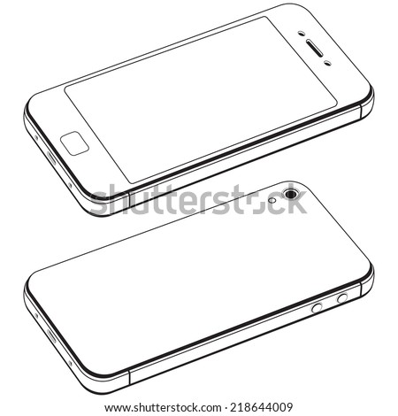 Modern smart phone isolation vector. Black and white drawing in the style of minimal - stock vector