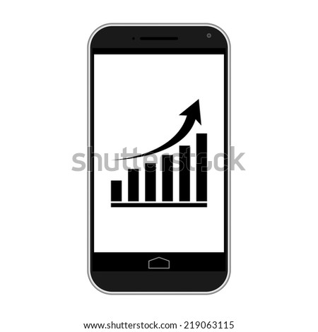 Modern smart phone isolation with growing graph icon - stock vector