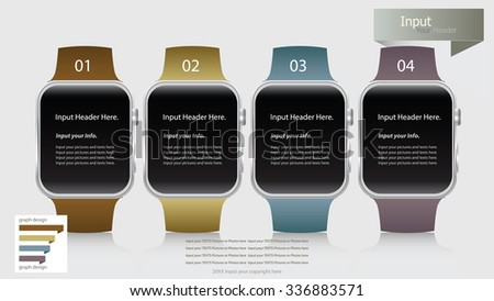 Modern smart watch infographic options banner. Vector illustration. can be used for workflow layout, diagram, number options, web design. - stock vector