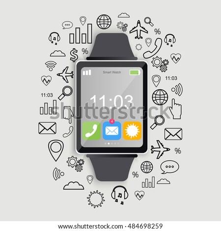 Modern smart watch with app icons. Modern flat design. Trendy smartwatch. Vector illustration.