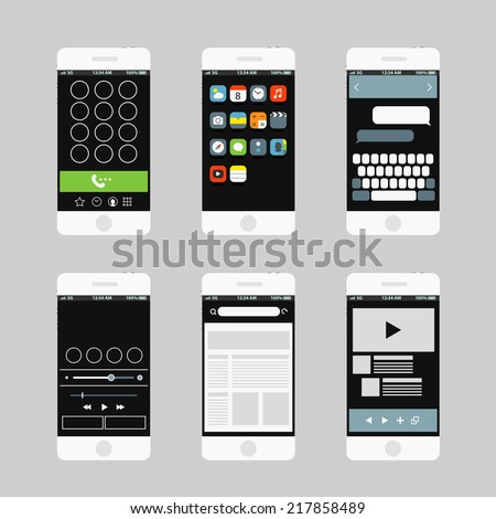 Modern smartphone interface elements - stock vector