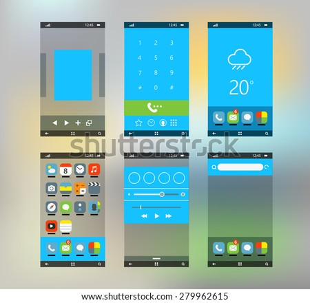 Modern smartphone interface with flat material design screens - stock vector